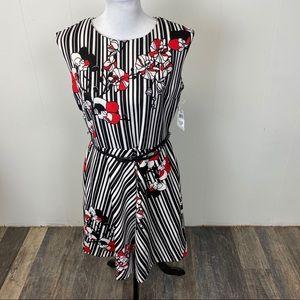 Sandra Darren Striped Floral Sleeveless Dress